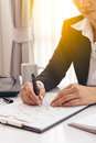 Business man working at office and documents on she desk Royalty Free Stock Photo