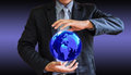 Business man world illustrate a general background Stock Images