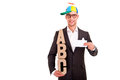 Business man writing coaching concept abc bussiness letters and funny hat Royalty Free Stock Images