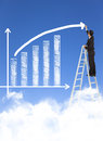 Business man writing growth bar chart with sky background Stock Photo