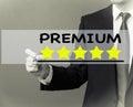 stock image of  Business man writing - Premium rating stars