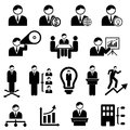 Business and management icons with businessman Royalty Free Stock Photos