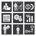 Business management icons organization and icon set Royalty Free Stock Photography