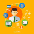 Business management man illustration with flat icons design set marketing web networking and app elements vector file organized Stock Photos