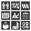 Business management set icons Stock Images