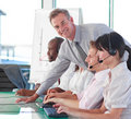 Business manager in a call centre Royalty Free Stock Photo