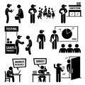 Business market survey analysis research icons a set of human pictogram representing company staff doing surveys and on the public Royalty Free Stock Photos