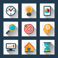 Business marketing concept icons set in flat style. Vector illustration