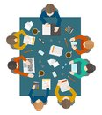 Business meeting in top view flat style office workers management and brainstorming on the square table vector illustration Royalty Free Stock Image