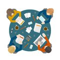 Business meeting in top view flat style office workers managment and brainstorming on the round table vector illustration Royalty Free Stock Images