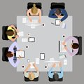Business meeting in top view office workers managment and brainstorming on the square table vector illustration Stock Image