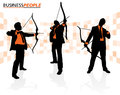 Business men with bows and arrows illustration of a group of depicted as silhouettes ready to hit their sales targets Royalty Free Stock Photos