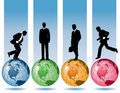 Business men and globes Stock Image