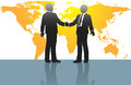 Business men handshake on world map Stock Photography