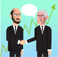 Business men making deal chatting vector hand drawn characters Stock Photos