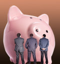 Business men with piggy bank Stock Photo