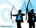 Business men on target illustration of a group of depicted as silhouettes ready to hit their sales targets metaphorically speaking Royalty Free Stock Images