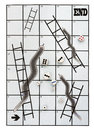 Business metaphor snakes and ladders, many dice Royalty Free Stock Photo