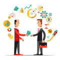 Business metaphors handshake investment partner vector illustration flat style Royalty Free Stock Photos