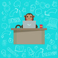 Business Monkey with handdrawn Doodles. Royalty Free Stock Photo