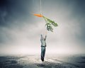 Business motivation funny image of businessman chased with carrot Royalty Free Stock Image