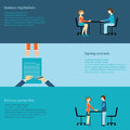 Business negotiations set of signing contracts partnership concept vector illustration Stock Photos