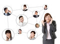 Business network asian business people use mobile phone to communicate to each other white background Royalty Free Stock Photo