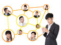Business network asian people use mobile phone to communicate to each other on white background Stock Image