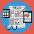 Business news flat vector concept the of Royalty Free Stock Photography