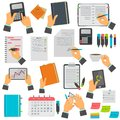 Business notes, calendar, to-do list, notebook, tablet color icons set. Different business manipulations isolated on white