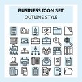 30 Business and Office Icon Set, using Outline style