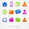Business office icons logo sign illustration set pictures Stock Photography