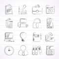 Business and office icons vector icon set Stock Photos
