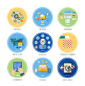Business office and marketing items icons set for web mobile applications of work social media in flat design Royalty Free Stock Photo