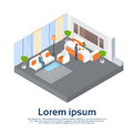 Business Office Reception Waiting Room Businesspeople Workplace 3d Isometric