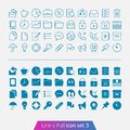 Business and office set trendy thin icons for web mobile line full versions Royalty Free Stock Photos