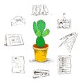 Business office stationery supplies icons set with decorative desktop cactus flower isolated sketch vector illustration Royalty Free Stock Images