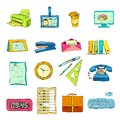 Business office stationery supplies icons set of telephone stapler ruler and pen isolated color sketch vector illustration Royalty Free Stock Photo