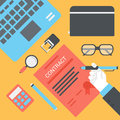 Business opportunity contract supply concept flat style vector Royalty Free Stock Photo