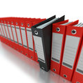 Business organization d rendering of a line of office ring binders with one sticking out Stock Photography