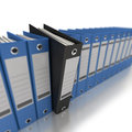 Business organization d rendering of a line of office ring binders with one sticking out Stock Photos