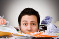 Business overwhelmed businessman buried in trash series with a and by work Stock Image