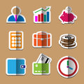 Business paper fold icons set finance Stock Images