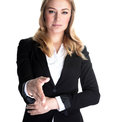 Business partner closeup portrait of confident young woman stretches out her hand for a handshake with isolated on white Royalty Free Stock Photos