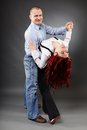 Business partners dancing full length portrait of two Royalty Free Stock Image