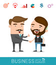 Business partners handshaking - Business people shaking hands, modern flat icon