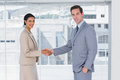 Business partners shaking hands in the office Royalty Free Stock Photos