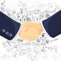 Business partnership concept icons composition successful teamwork black outlined with prominent foreground handshake symbol Stock Photo