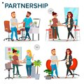 Business Partnership Set Vector. Business Man And Business Woman. Casual Handshaking. Business Connection. Isolated Flat