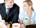 Business people during breakfast Royalty Free Stock Photos